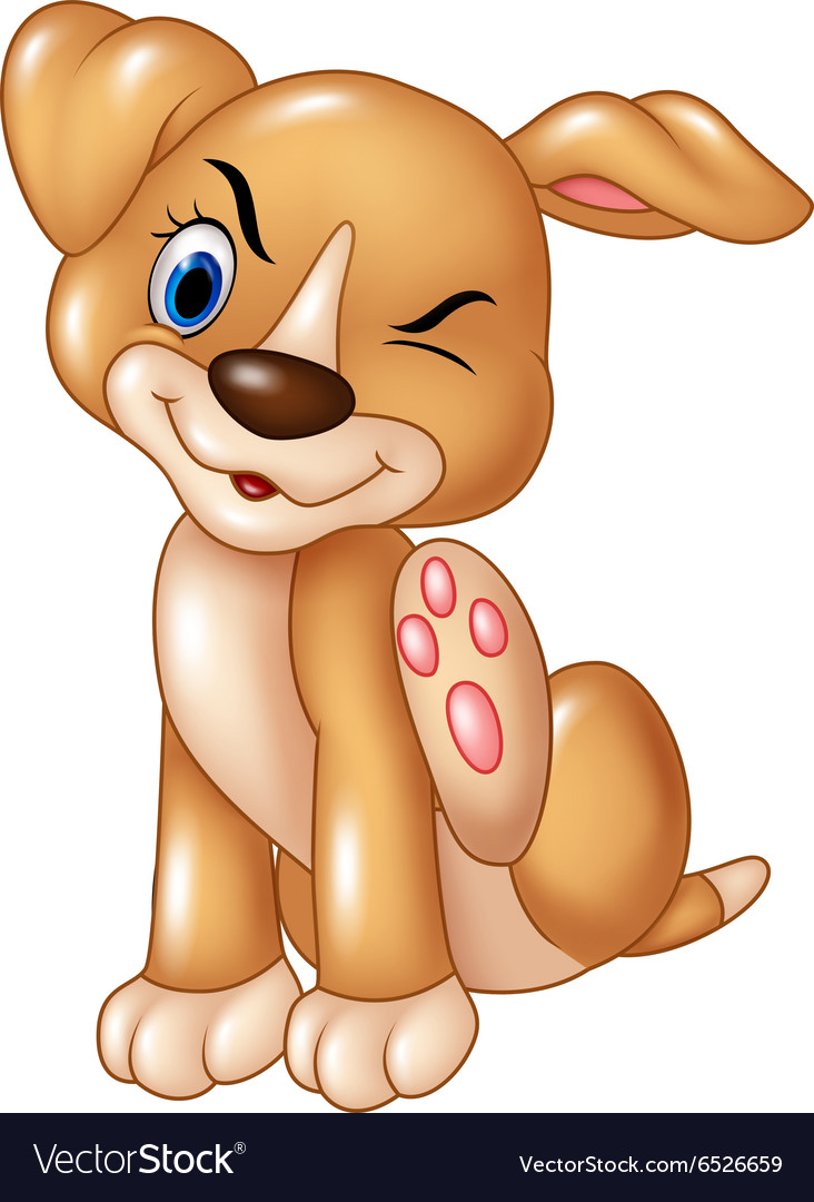 Cartoon baby dog scratching an itch isolated