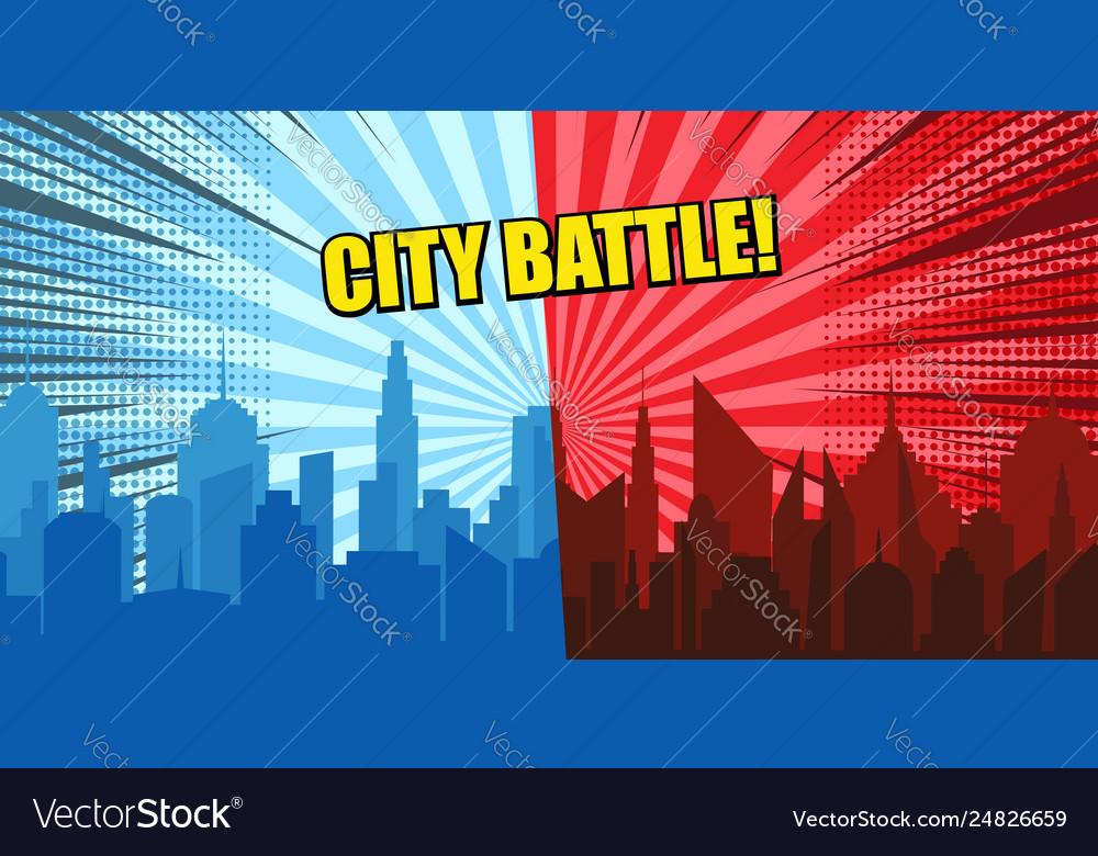 Comic city battle concept