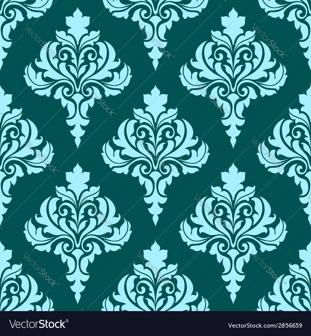 Floral seamless pattern with blue flowers on dark