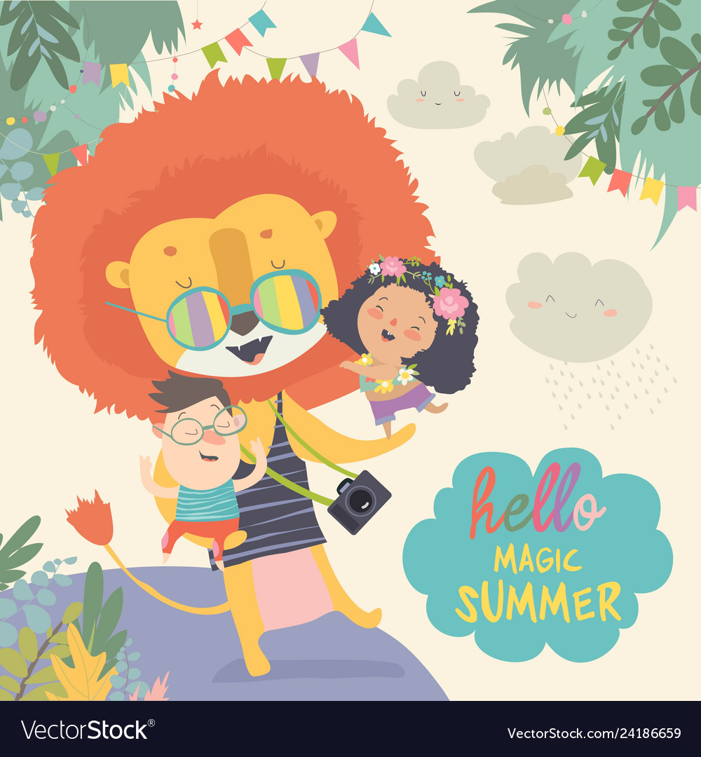 Funny lion hugging children hello adventures