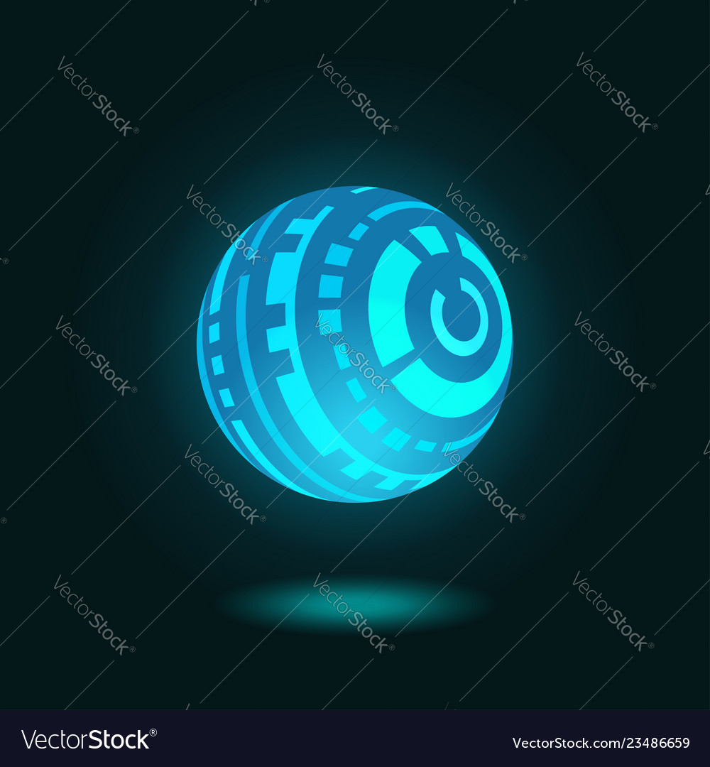 Futuristic spherical hud glowing on dark blue back