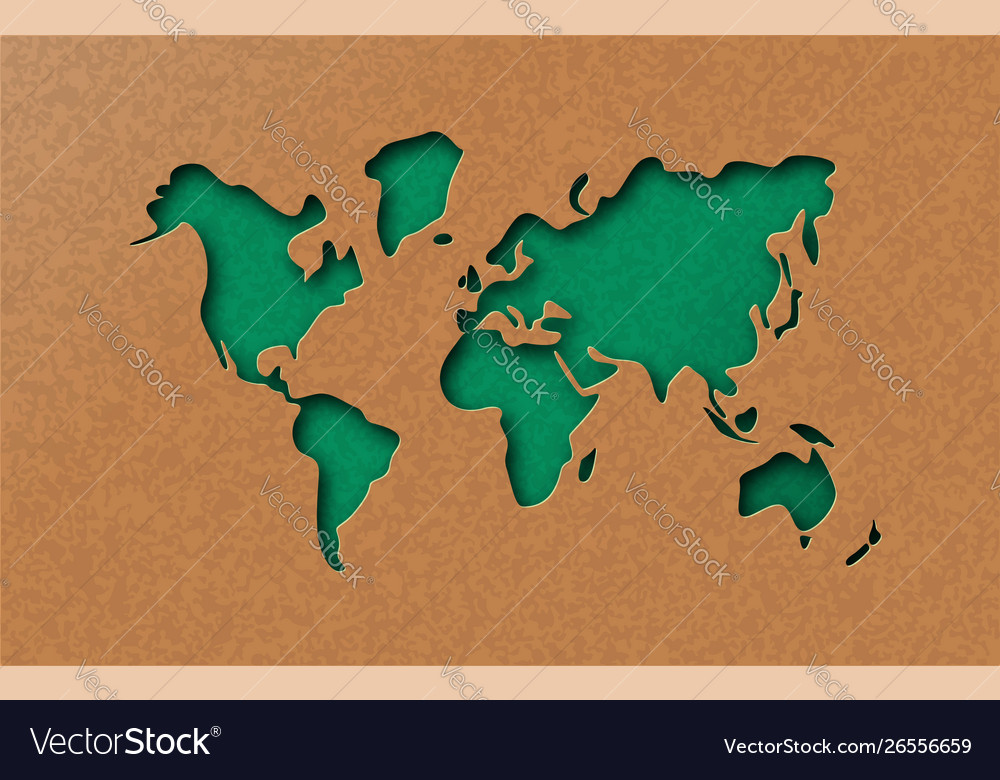 Green eco earth world map in paper cut style