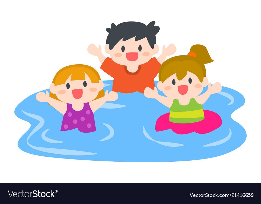 Happy children boys and girls swimming at beach
