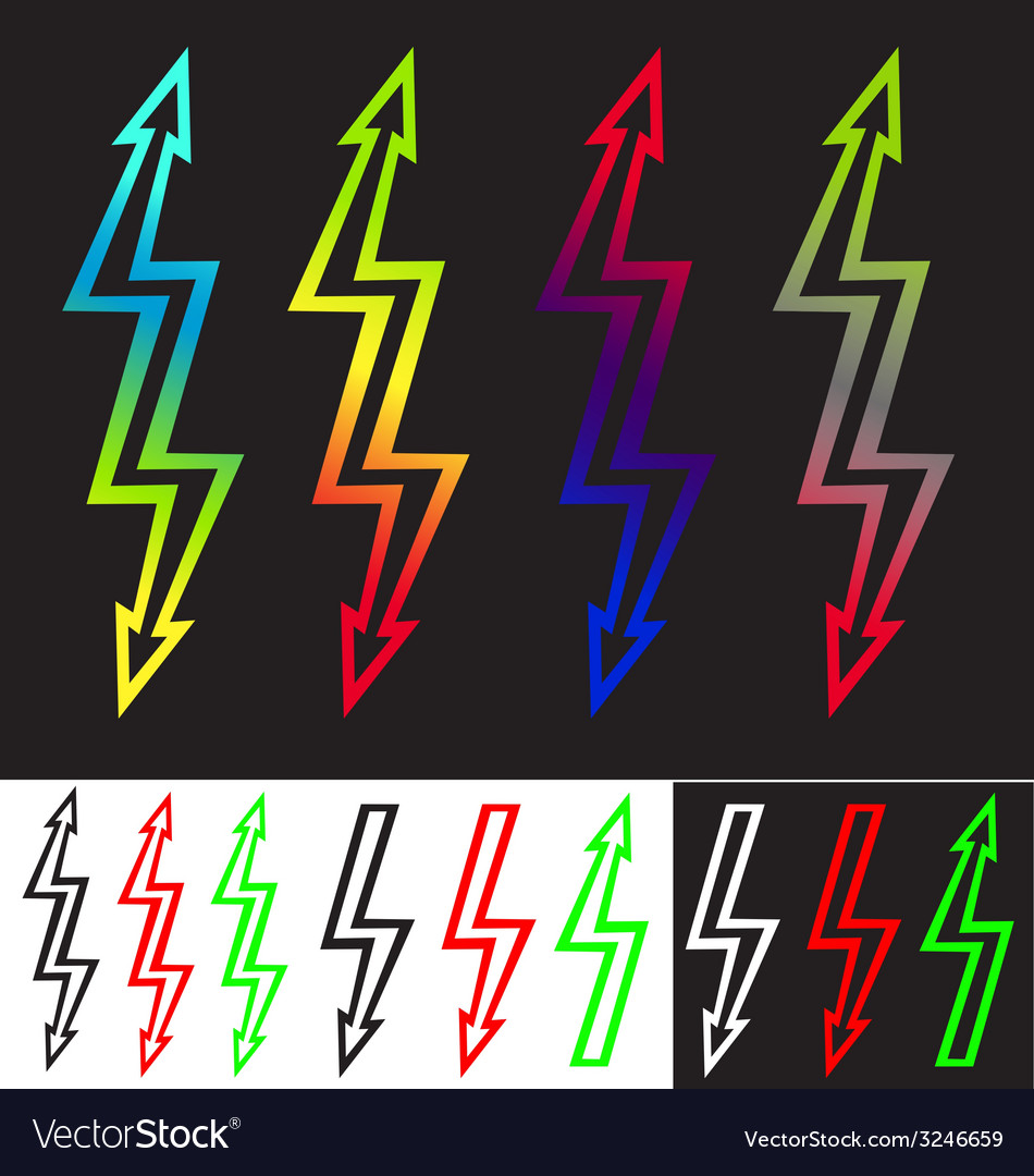 Iridescent sign double-ended arrow lightning vector image