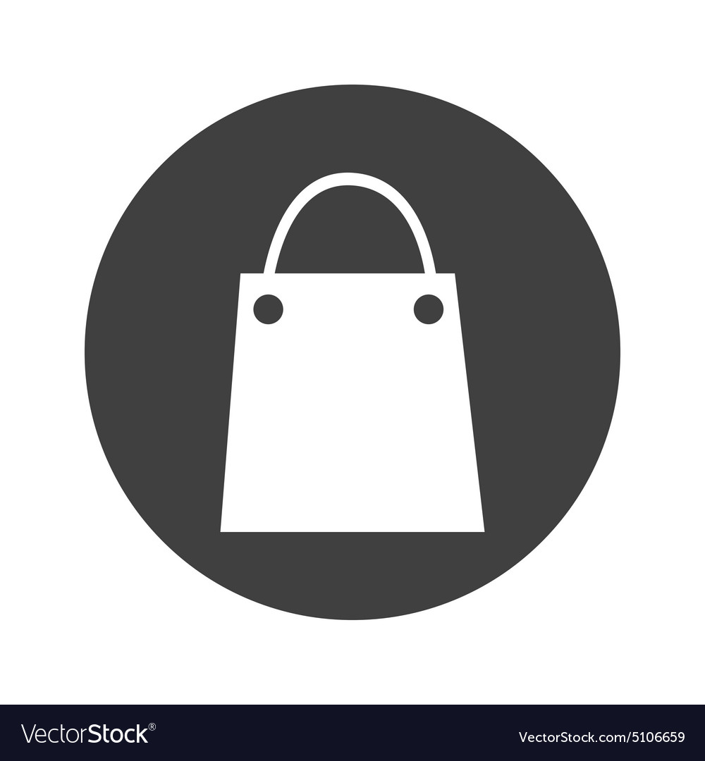 Monochrome Round Shopping Bag Icon Royalty Free Vector Image