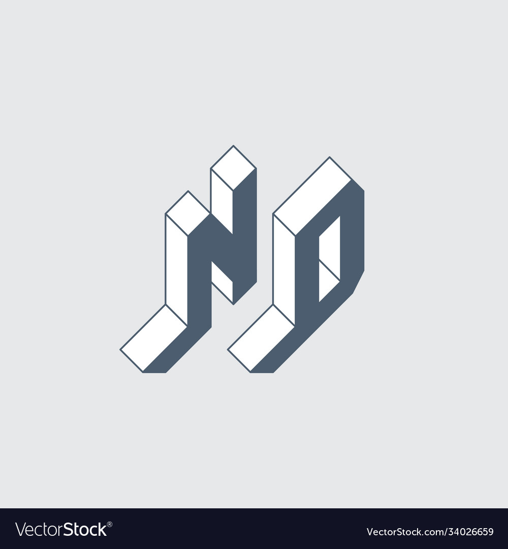 Nd - monumental logo or 2-letter code isometric