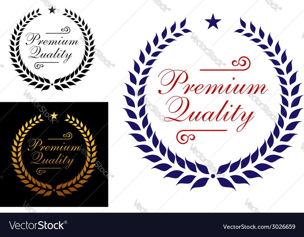 Premium quality laurel wreath logo or emblem vector image