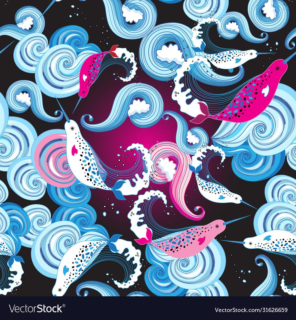 Seamless beautiful bright marine pattern