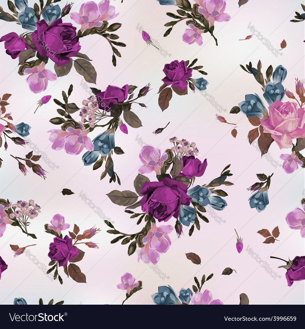 Seamless floral pattern with purple and pink roses