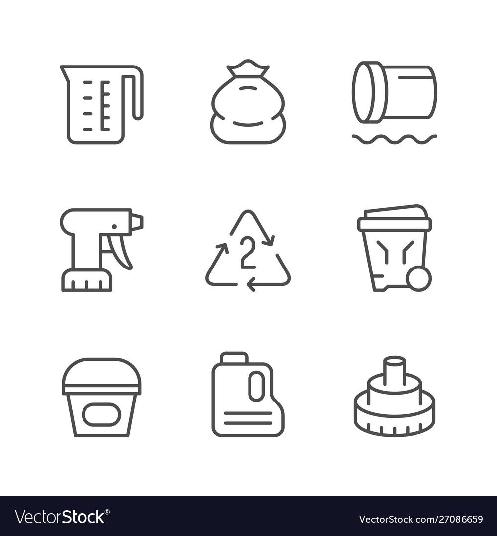 Set line icons polyethylene or polythene