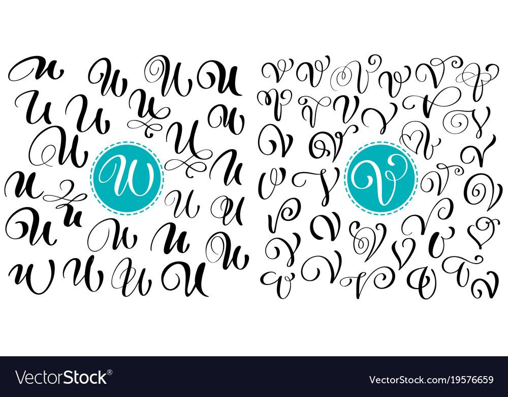 Set of hand drawn calligraphy letter u v