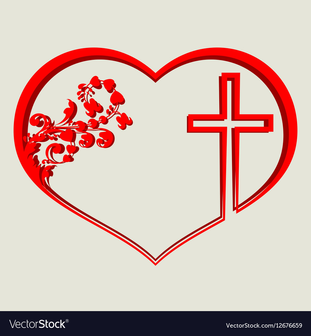 silhouette of heart with a cross royalty free vector image