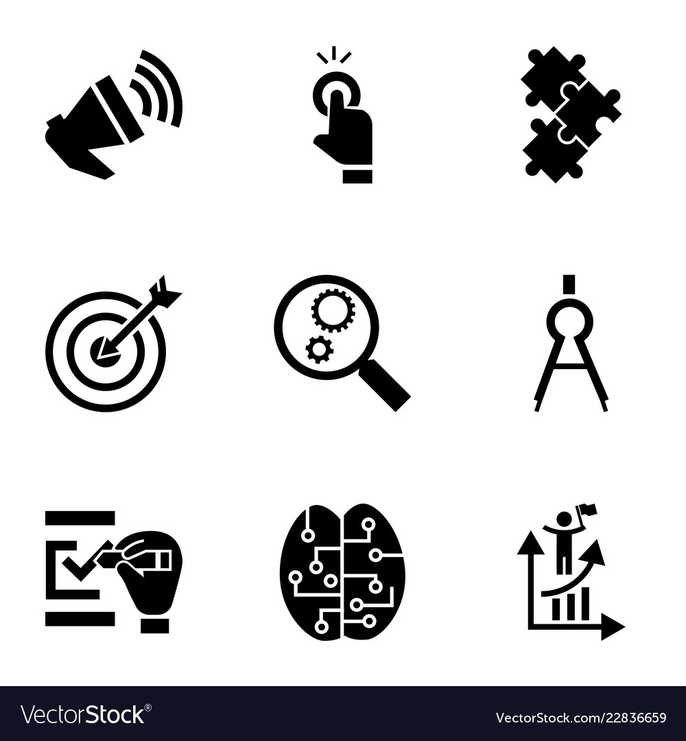 Target solution icon set simple style