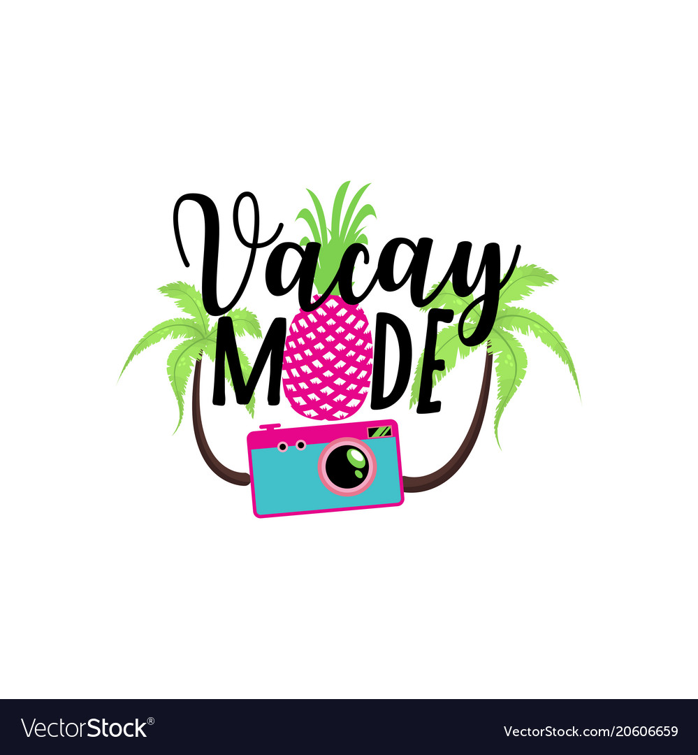Vacay mode summer badge cute sticker vector image