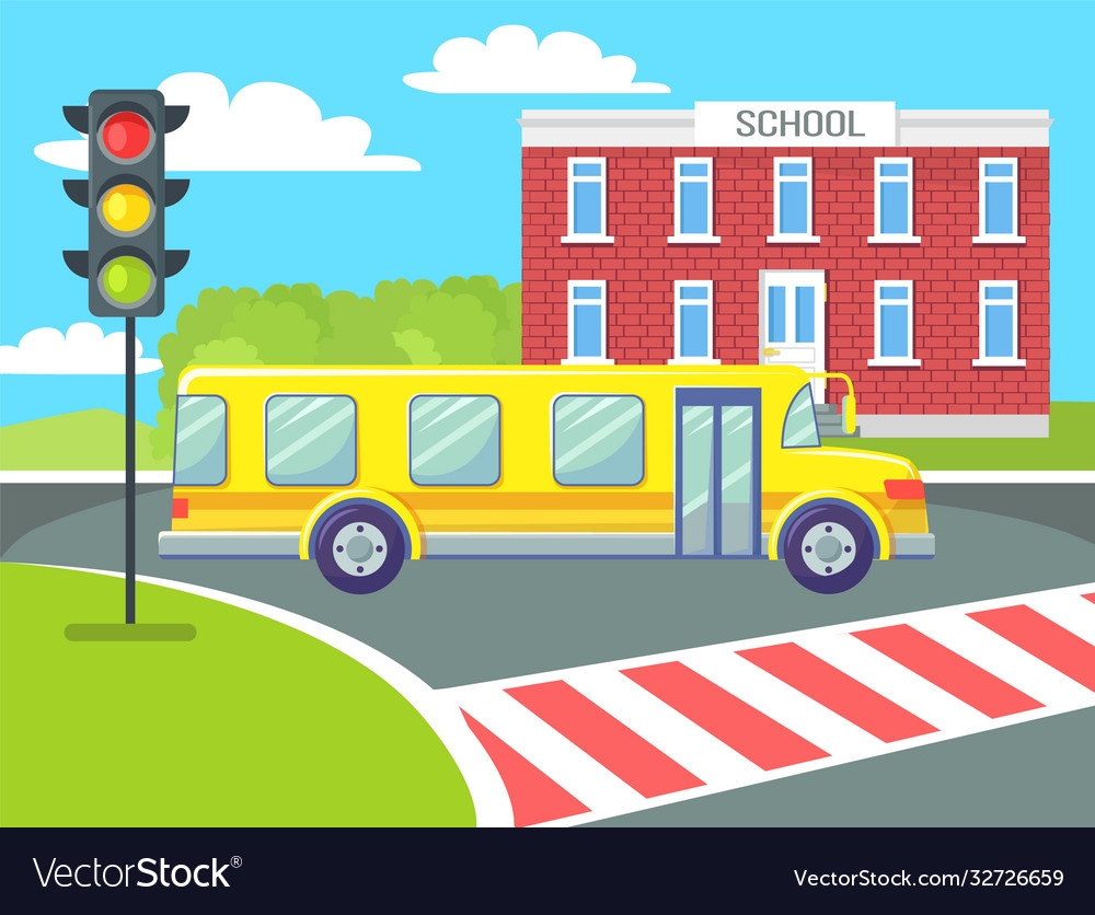 Yellow school bus on pedestrian crossing