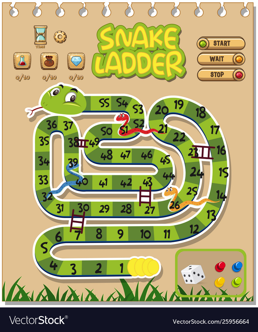 A Snake Ladder Game Template Royalty Free Vector Image
