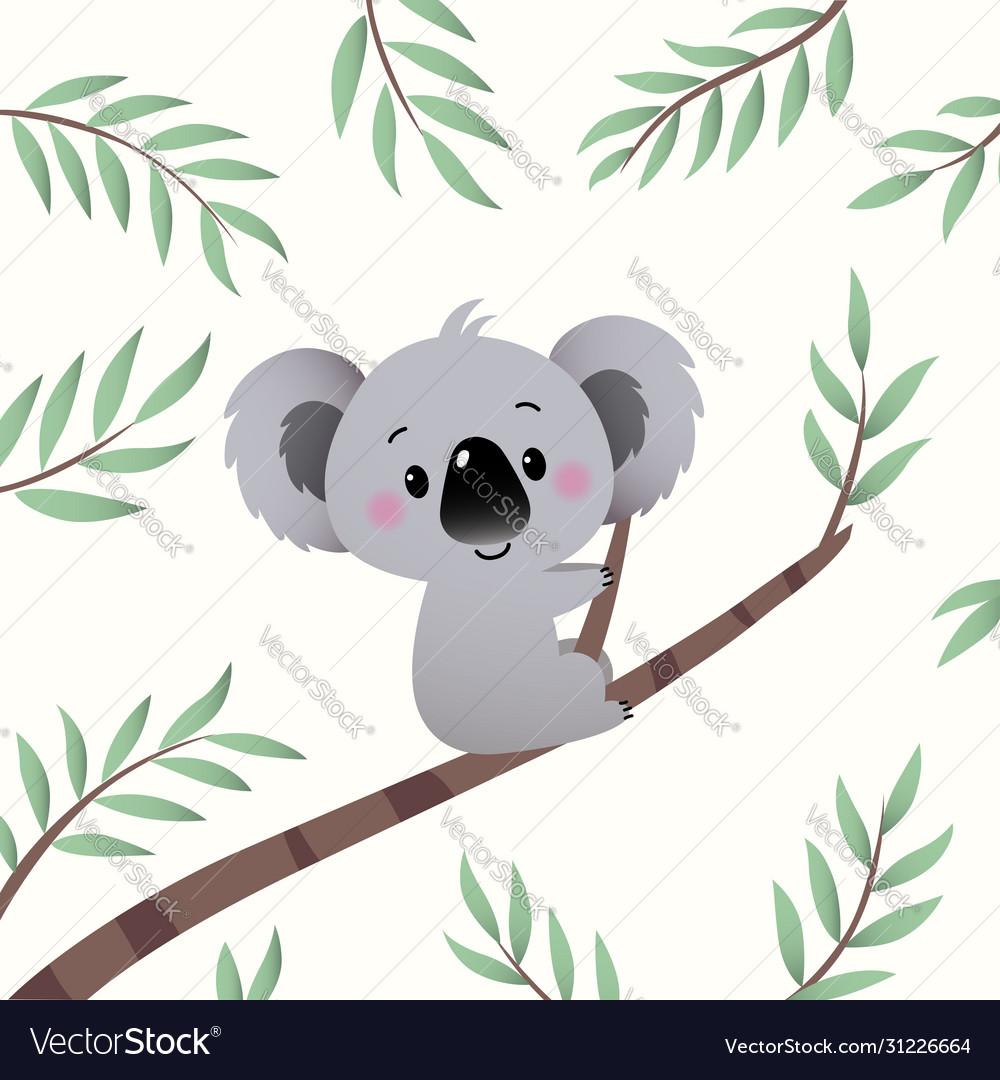 Cartoon Koala Climbing In Tree Branch Royalty Free Vector Koala sitting on a tree branch. vectorstock