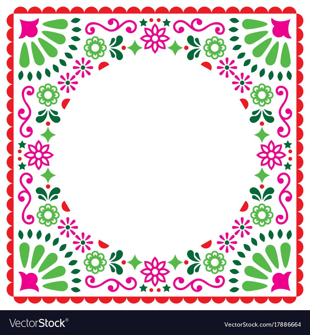 Folk greeting card mexican invitation