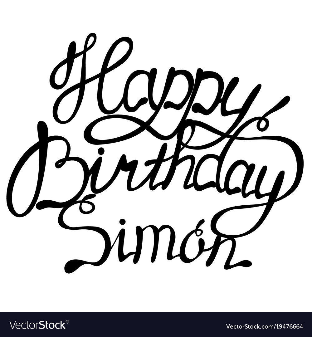 Happy birthday simon name lettering