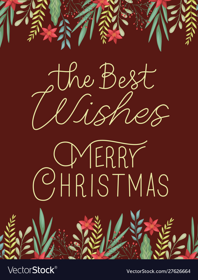 Merry Merry Christmas.Happy Merry Christmas Card With Floral Decoration