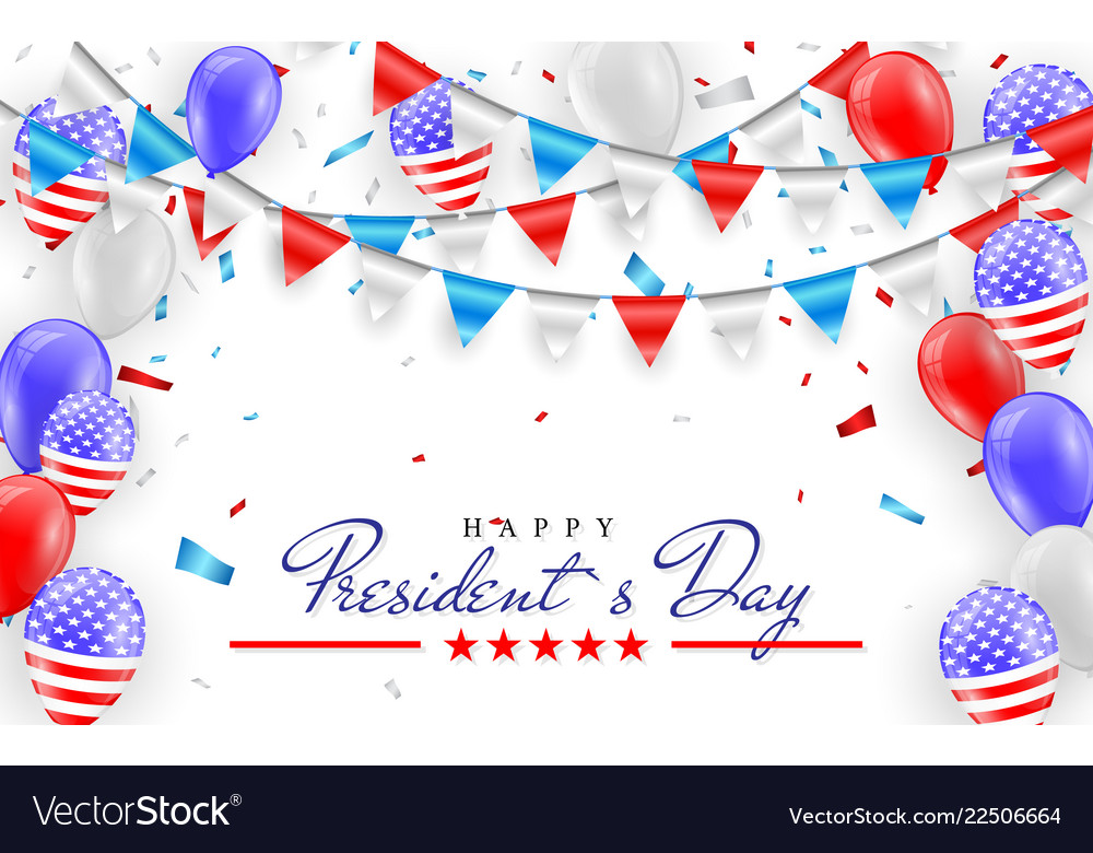 Happy president day hanging bunting flags for