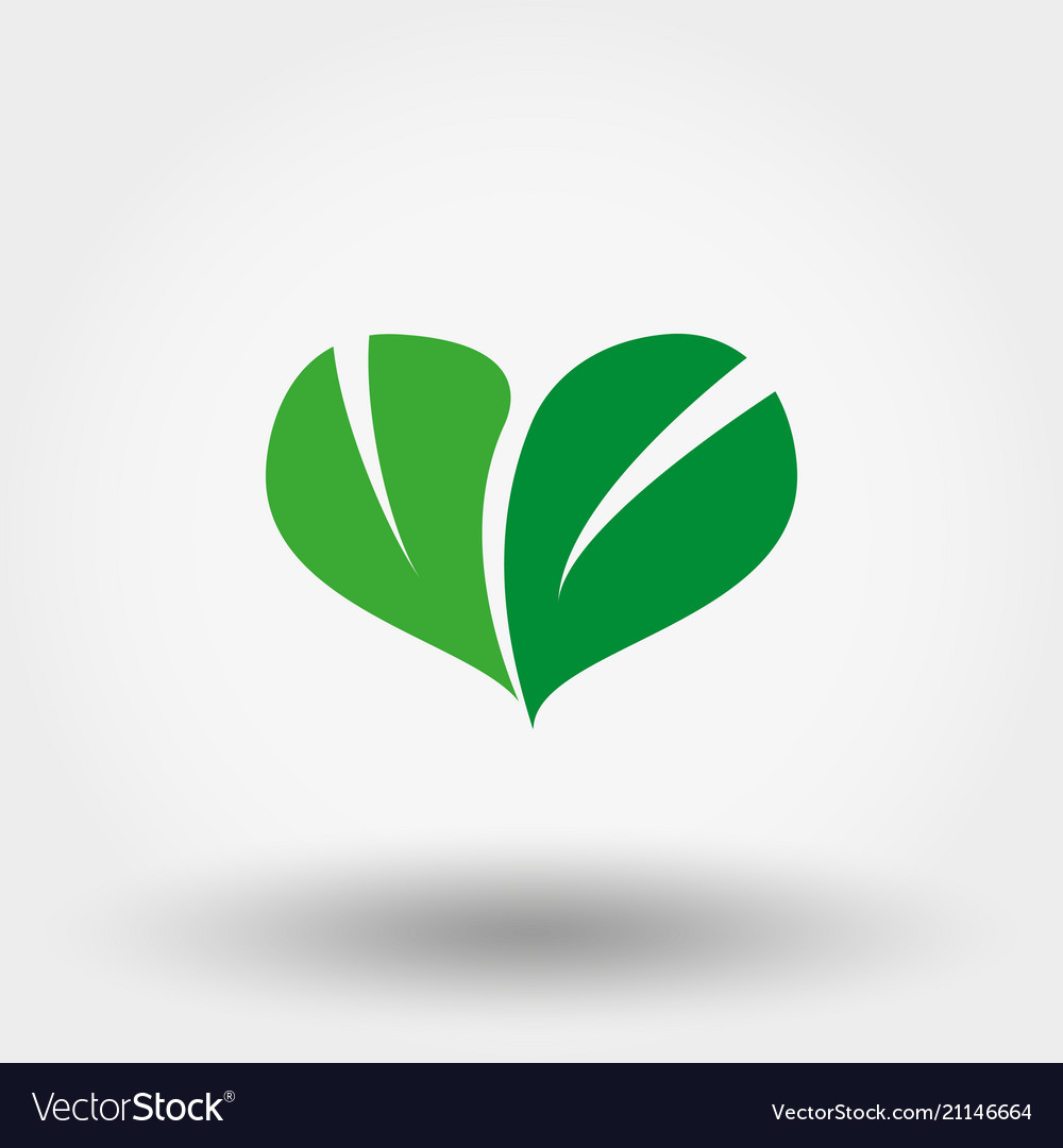 Heart of green leaves icon flat