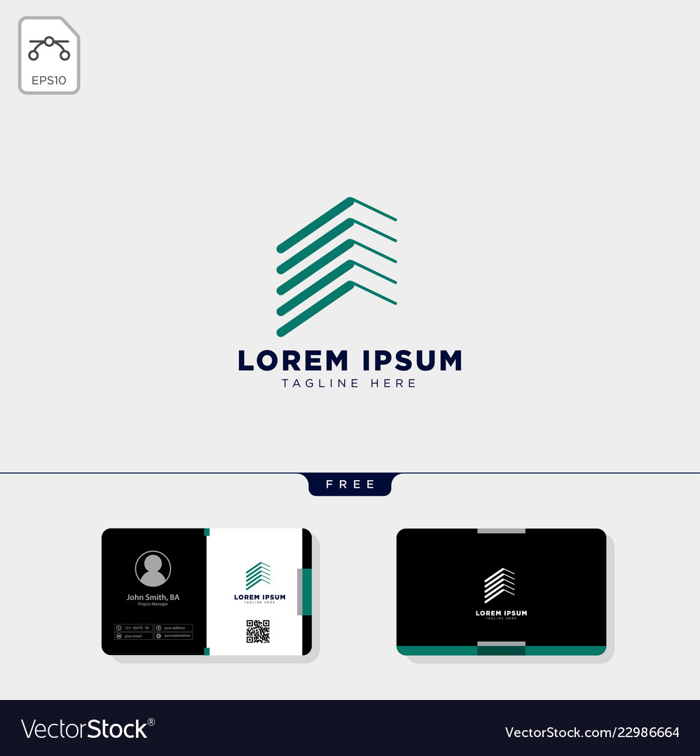 Real estate logo template and free business card