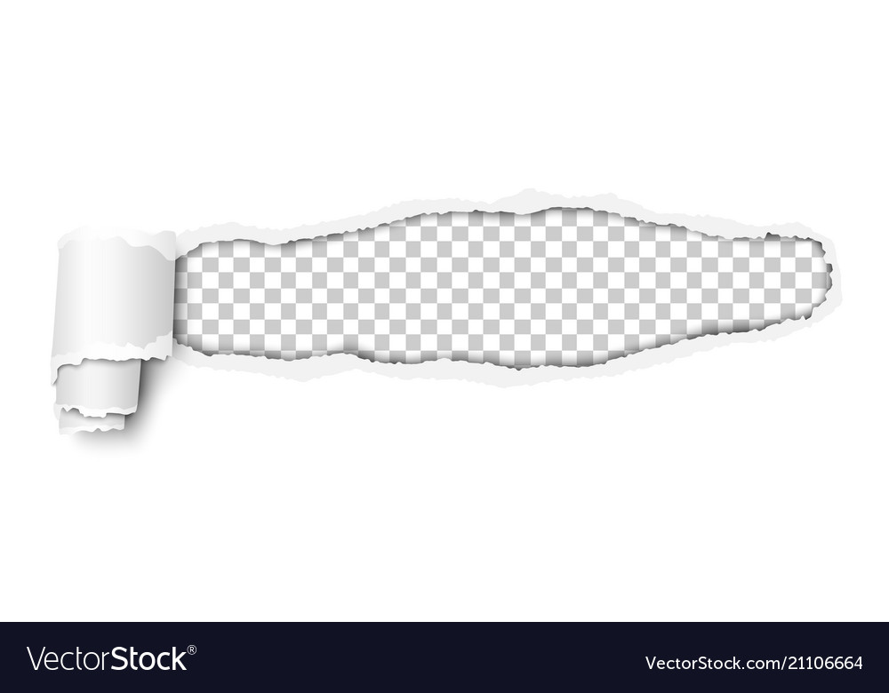 Snatched window in piece of white paper vector image