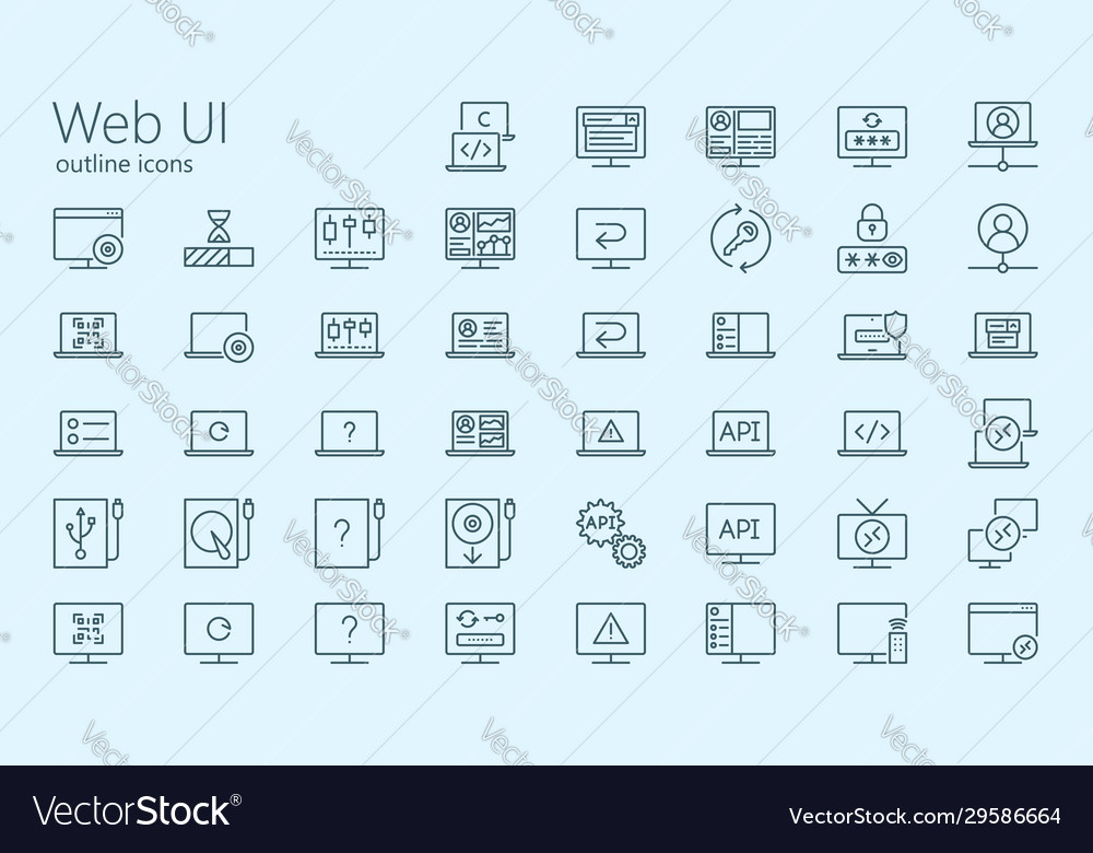 Web ui outline iconset