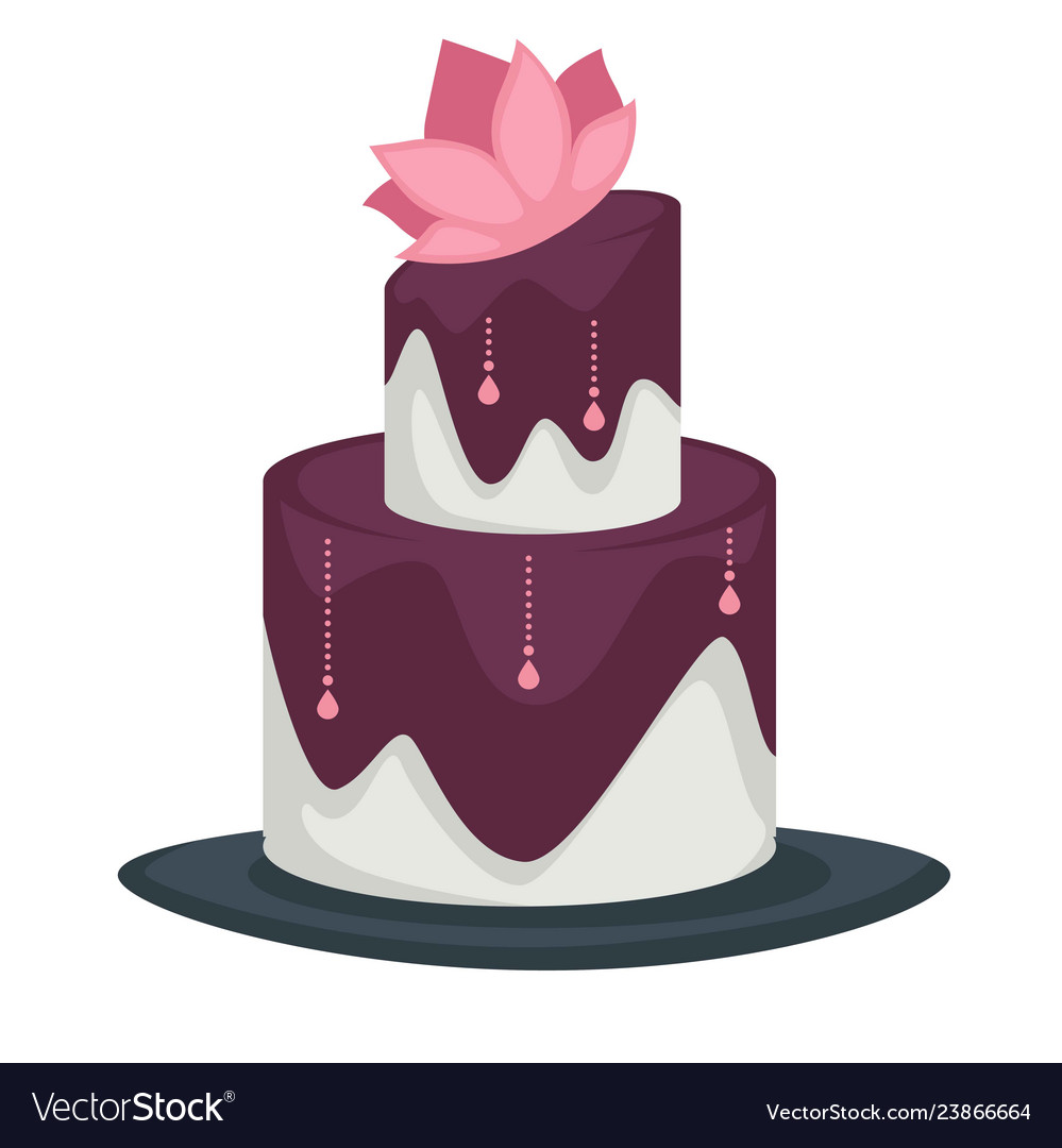 Wedding Cake With Layers And Lotus Flower Purple Vector Image