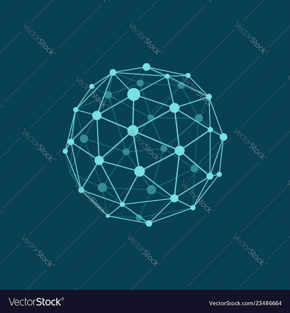 Wireframe sphere on dark plane blue background