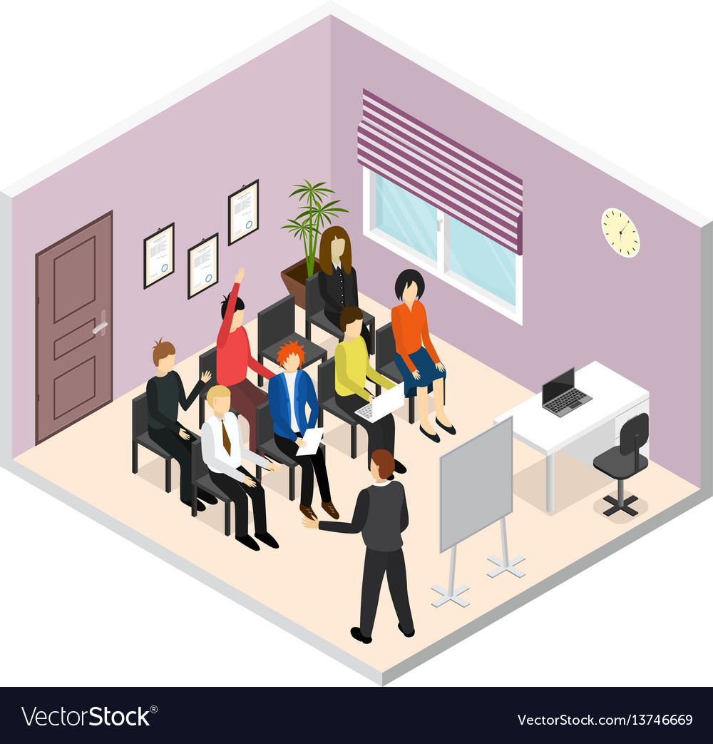 Business training or coaching isometric view vector image