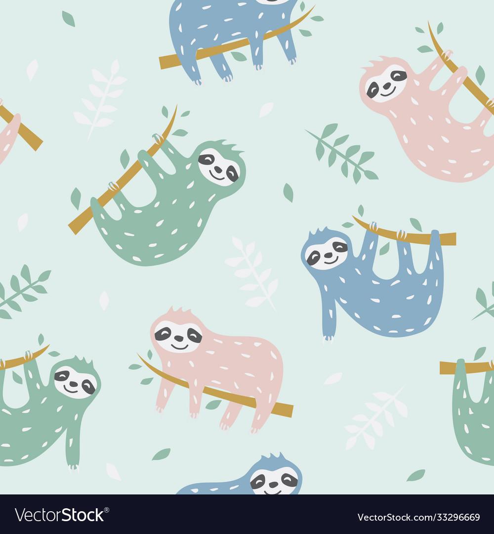 Childish seamless pattern with cute sloth