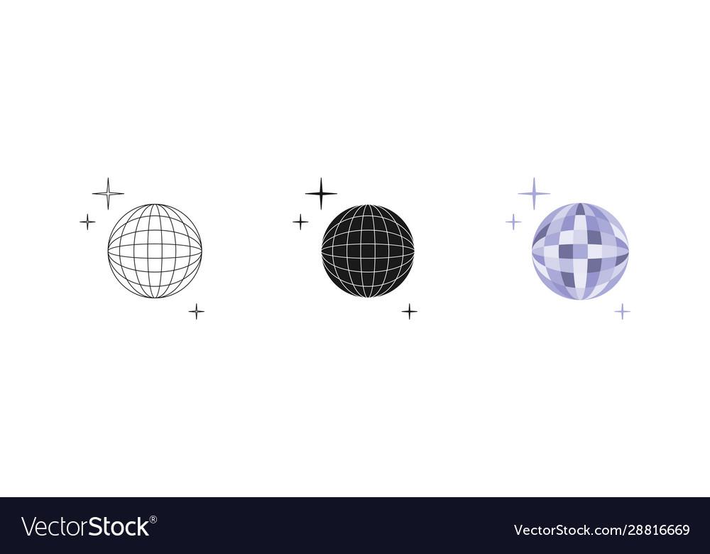 Disco ball set three options icon editable