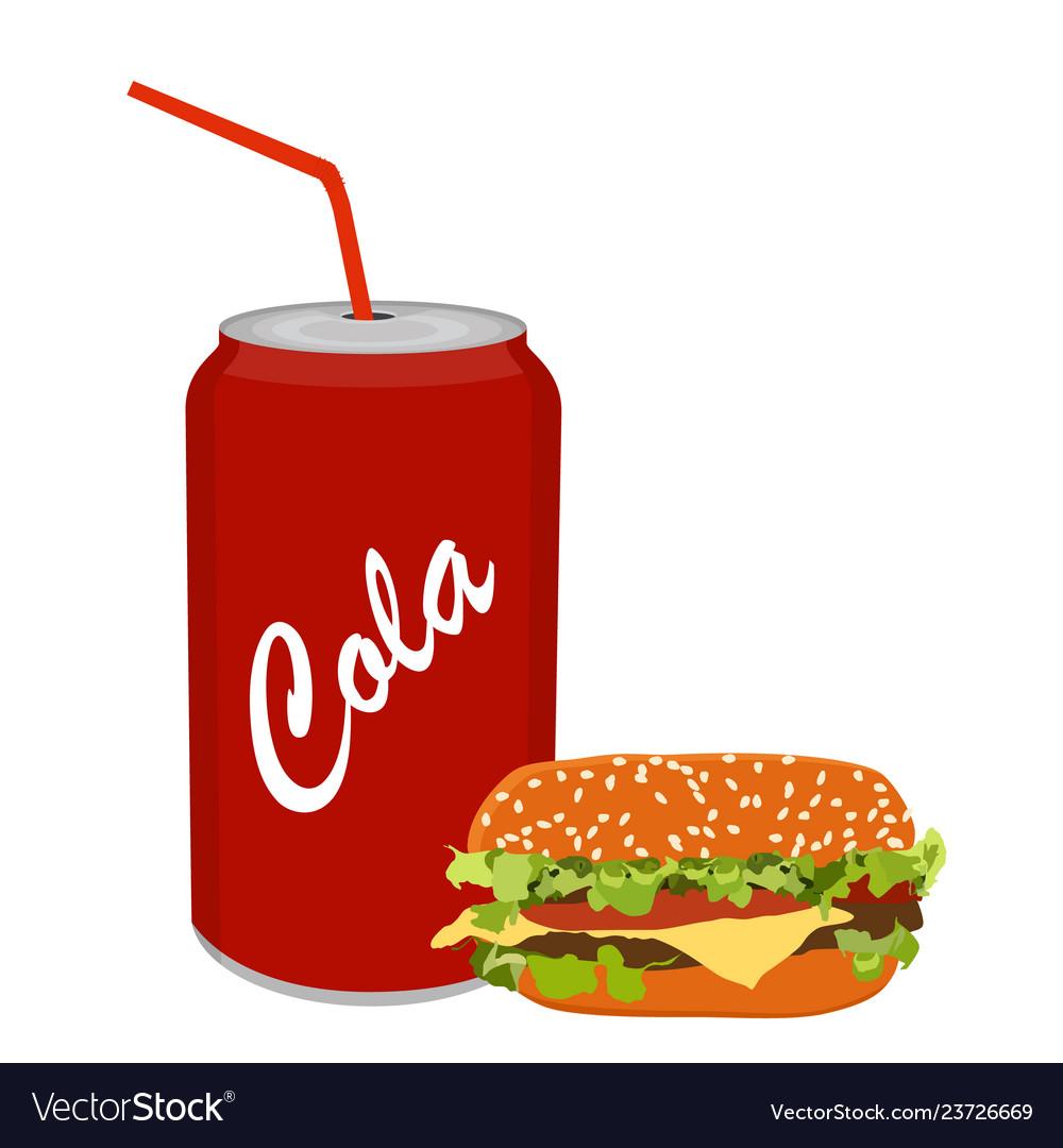 Fresh tasty burger hamburger and soda isolated on