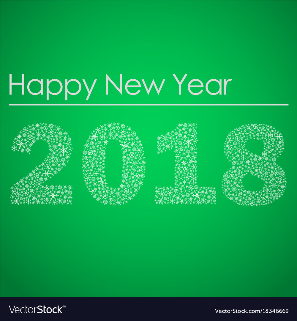 Green happy new year 2018 from little snowflakes