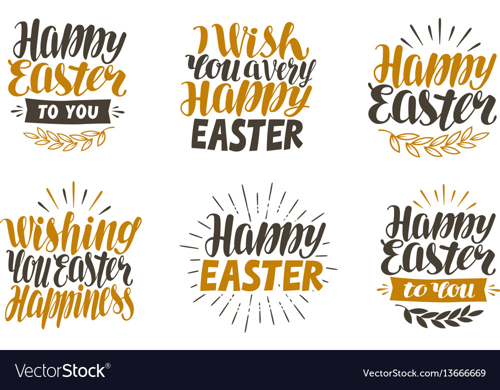 Happy easter label set hand drawn lettering
