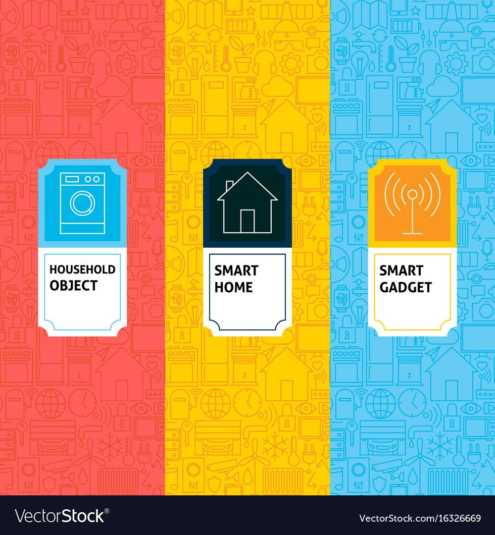 Line smart home patterns set vector image