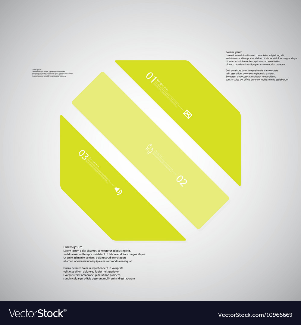 octagon template consists of three green parts on vector image