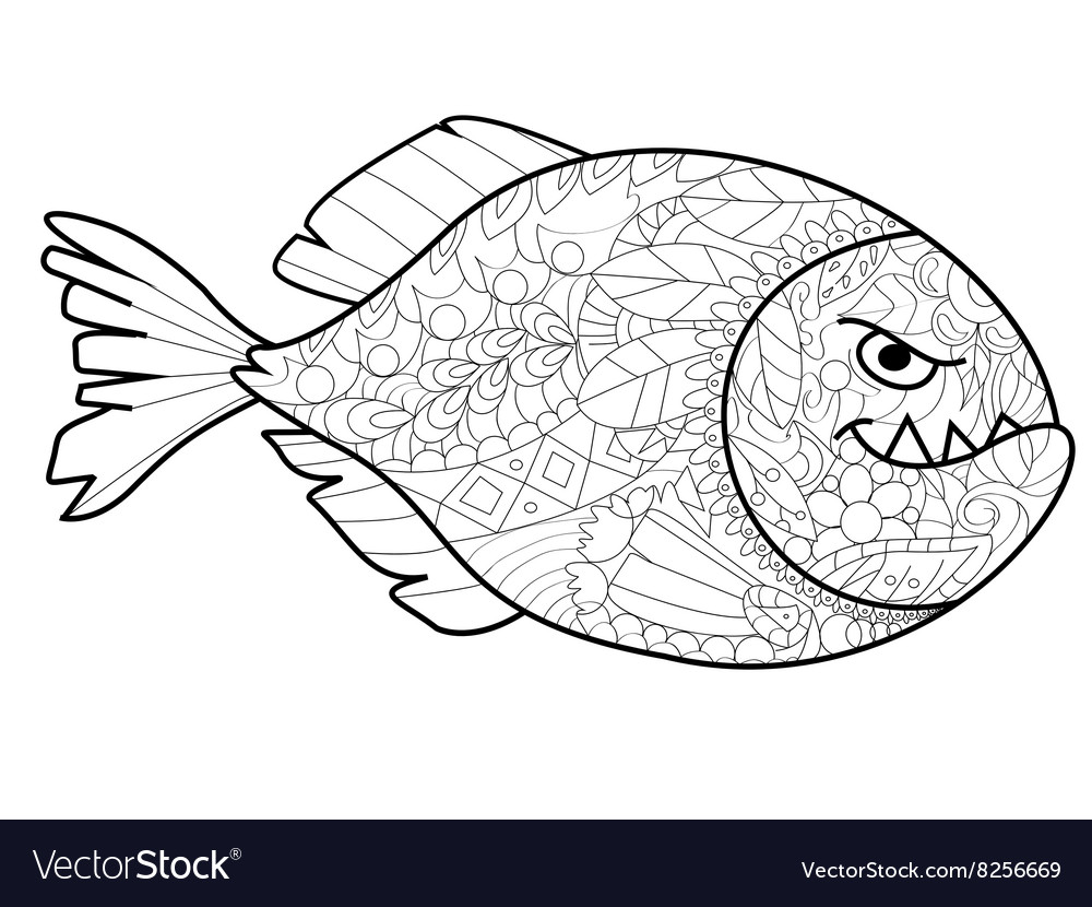 Piranha Coloring for adults Royalty Free Vector Image
