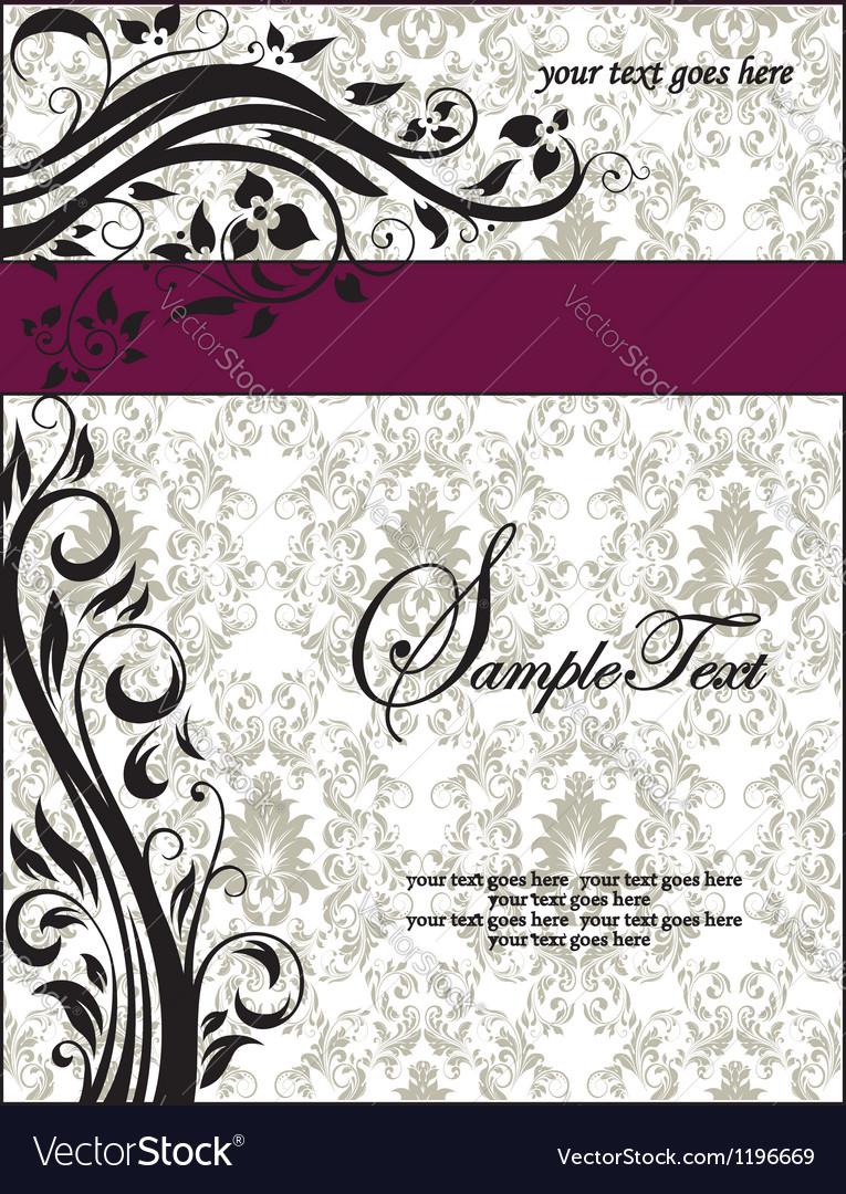 Purple swirls frame wedding invitation