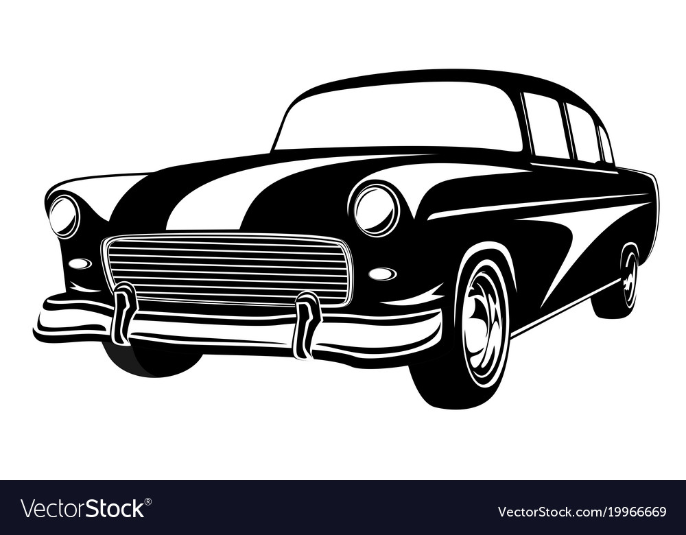 Retro Muscle Car Vintage Car Old Royalty Free Vector Image