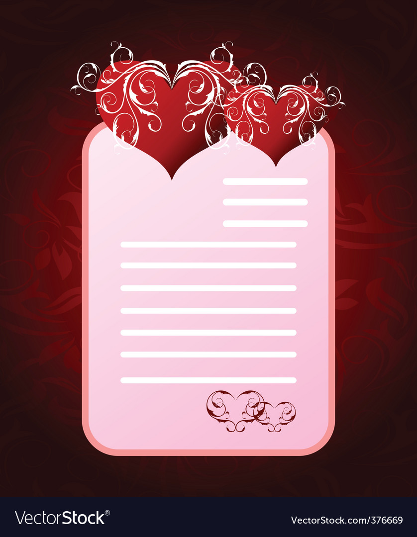 Romantic letter for valentines day