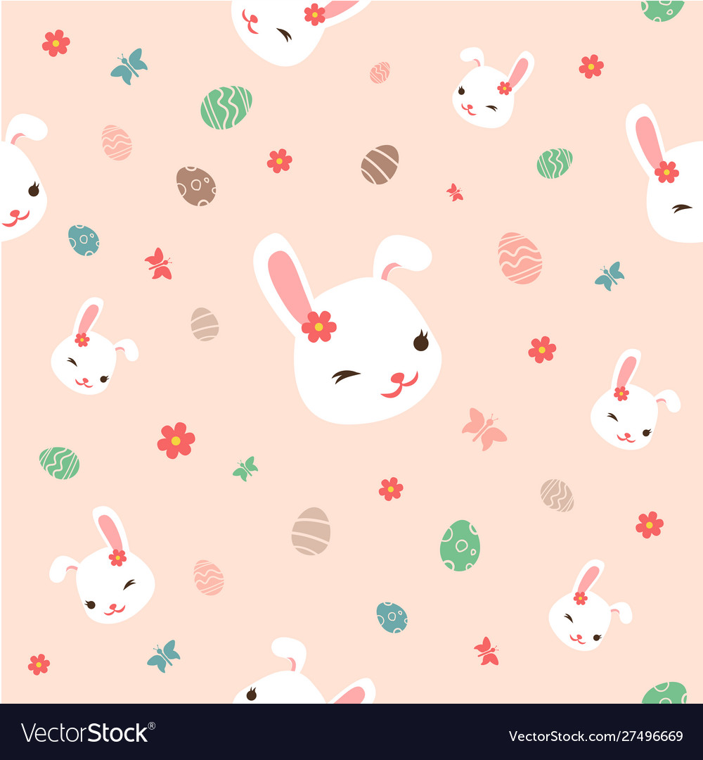 Seamless easter pattern with flowersbunnies