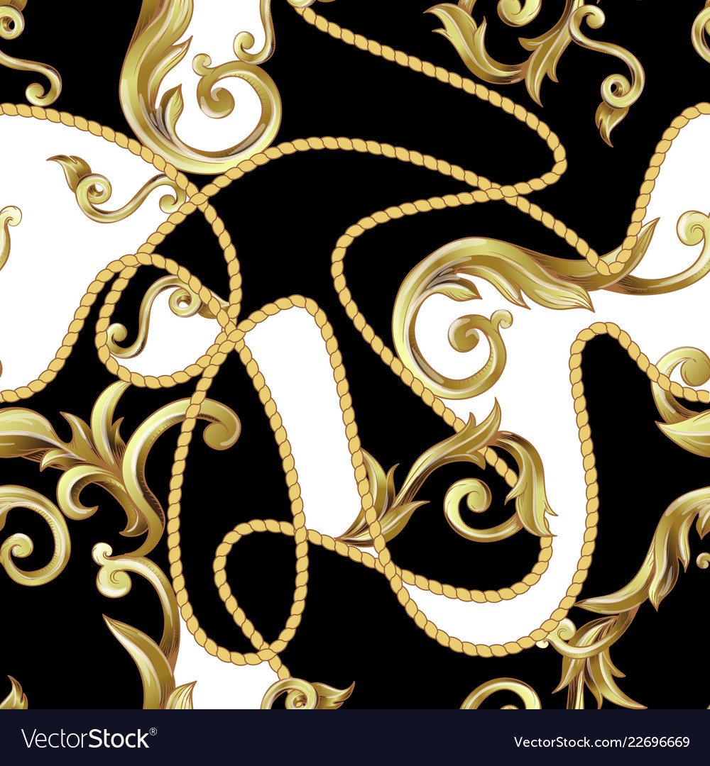 Seamless pattern with golden baroque elements