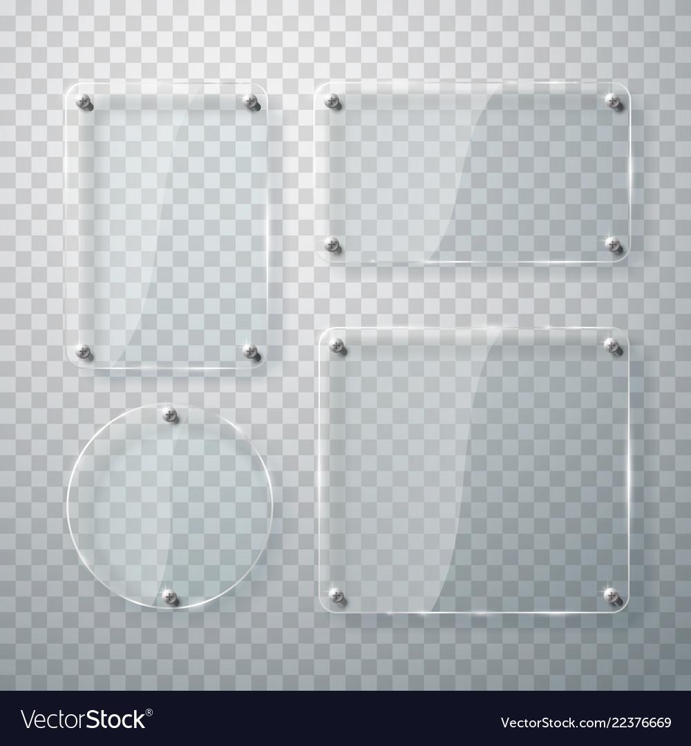 Set glass frames on transparent
