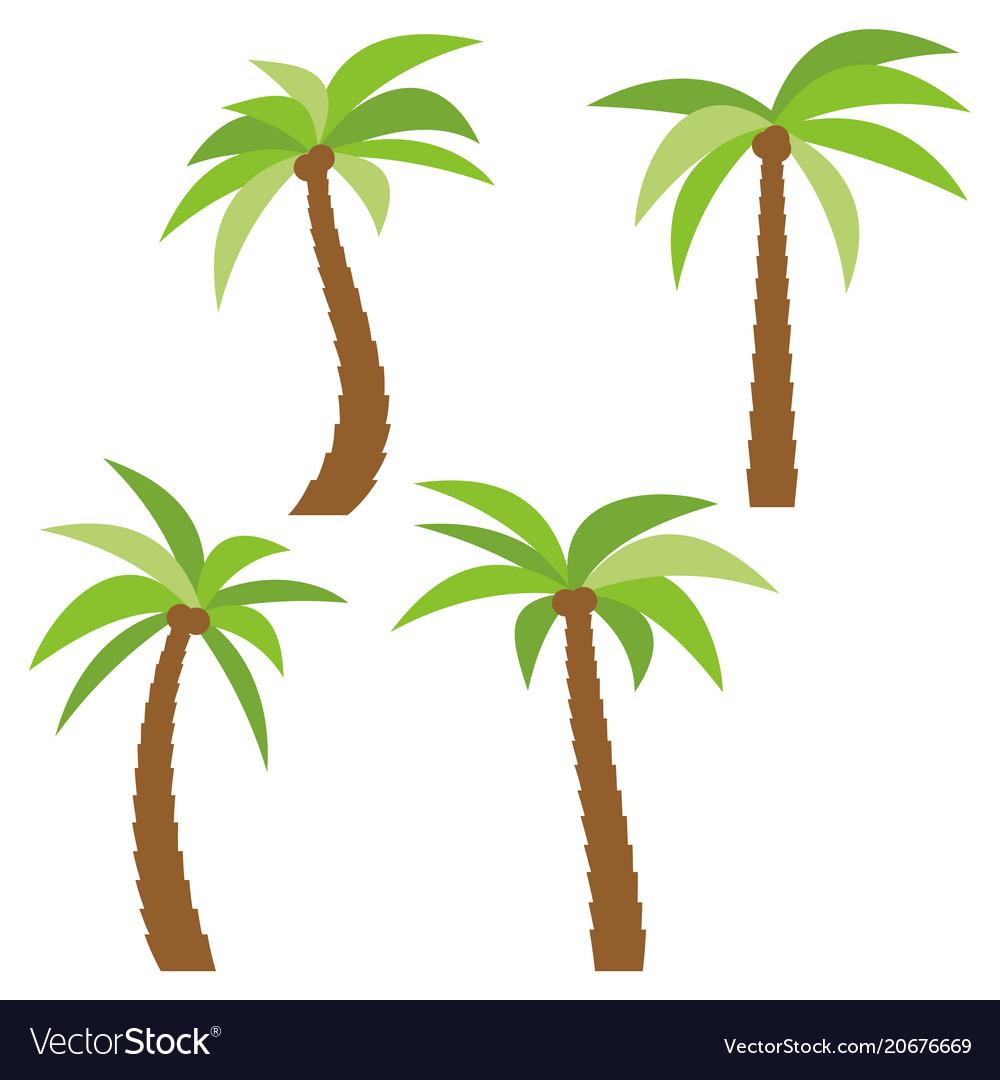 set of four different cartoon palm trees vector image rh vectorstock com Palm Tree Drawing Palm Tree Beach Clip Art