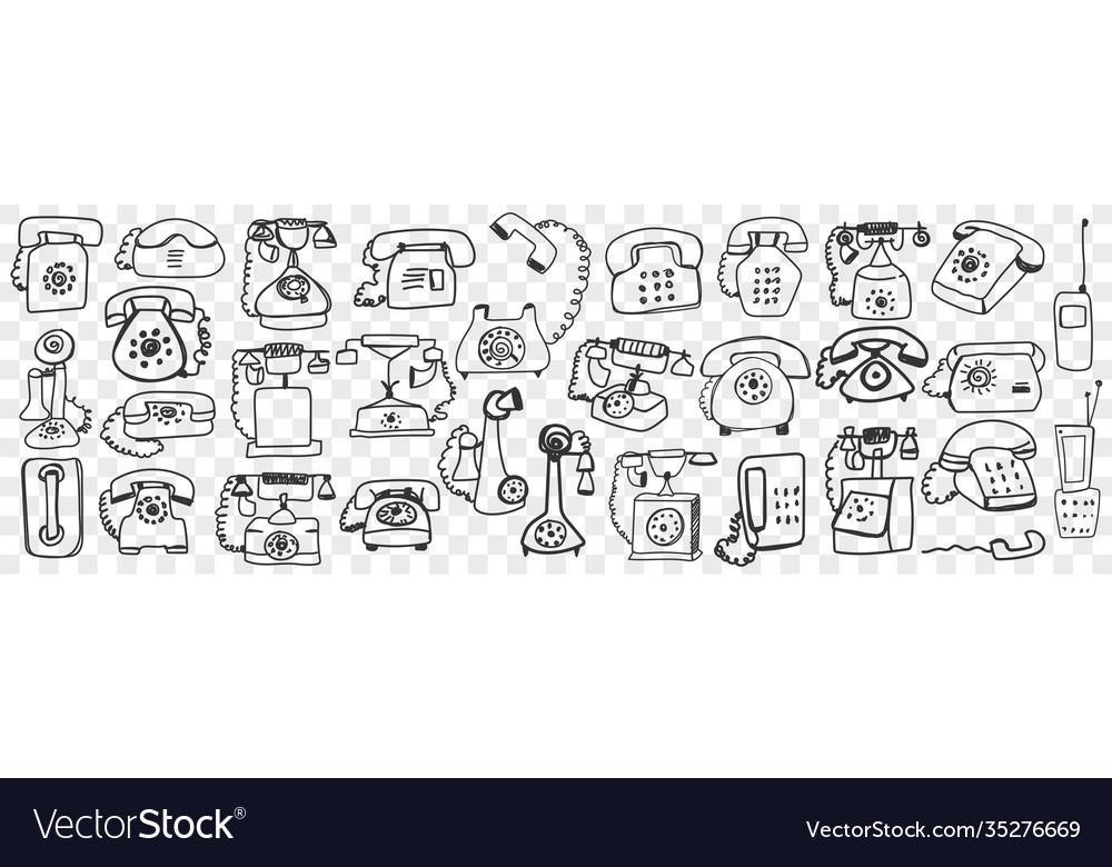 Telephone set hand drawn doodle set