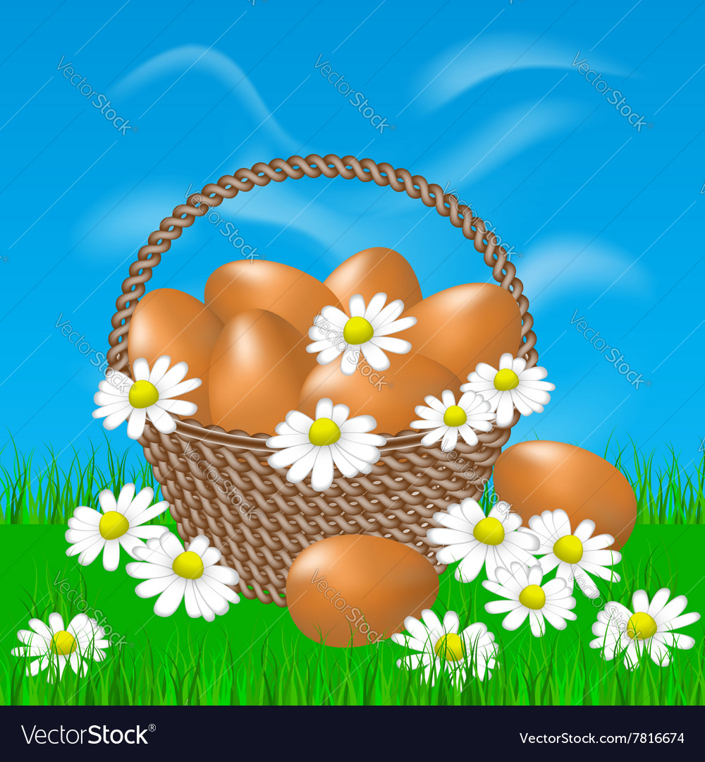 Basket with brown eggs on the grass
