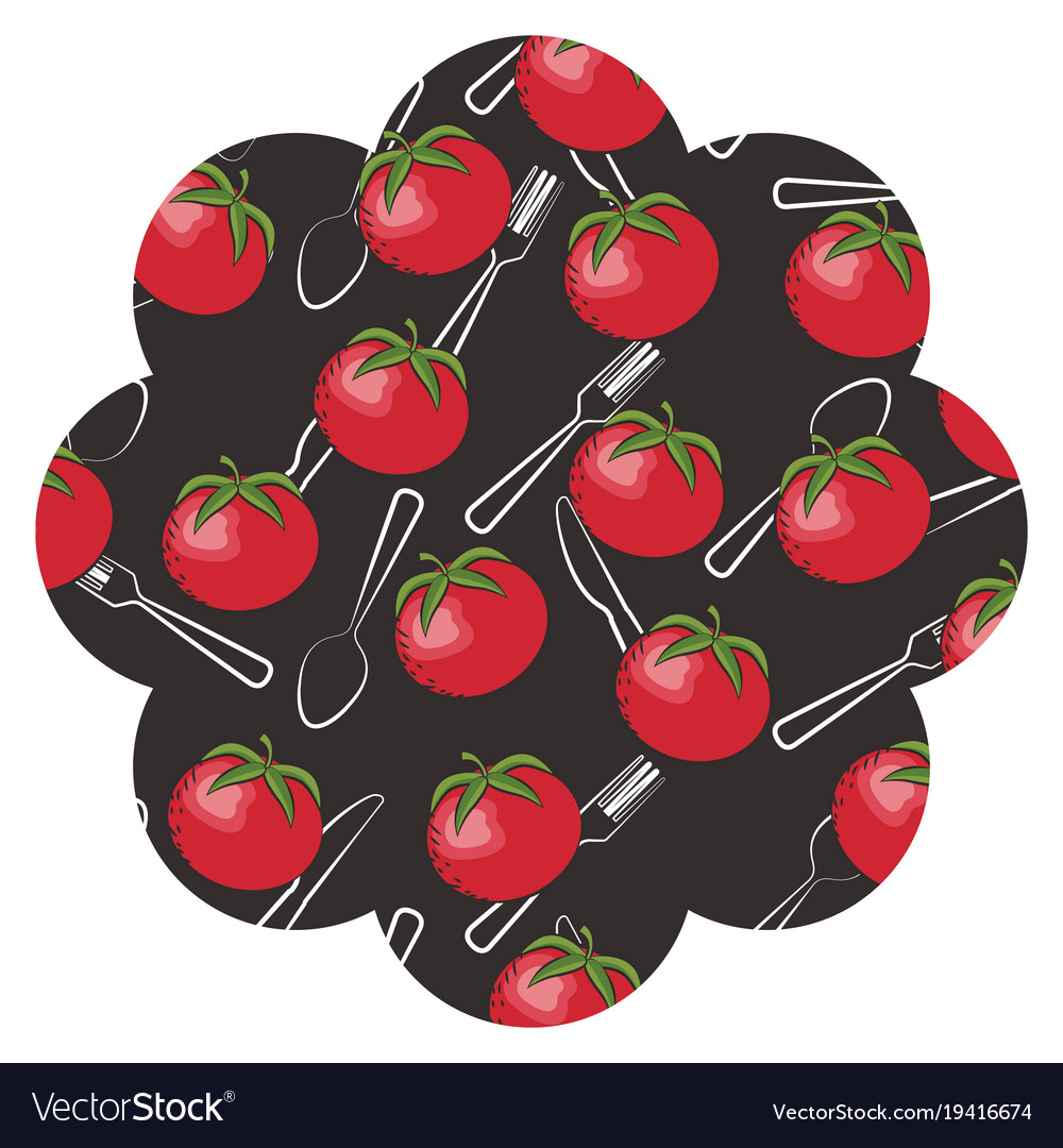 Frame with tomatoes and cutlery pattern background vector image